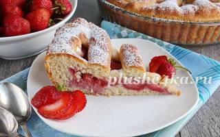 Пирог дрожжевой с клубникой рецепт с фото