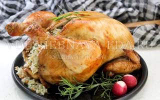 Курица в духовке с рисом целиком рецепт с фото
