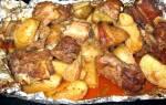 Рёбра с картошкой в духовке рецепт с фото