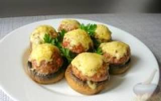 Рецепт фаршированные шампиньоны в духовке с фото