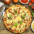 Пицца рецепт с колбасой и сыром и помидорами и грибами