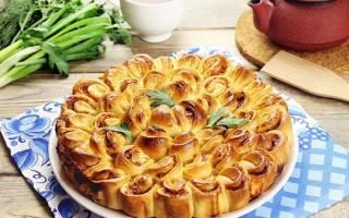 Мясной пирог хризантема рецепт с фото пошагово
