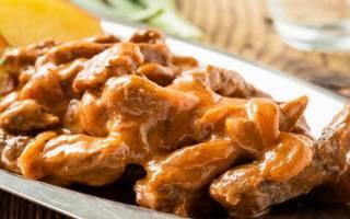 Бефстроганов из говядины с сливками рецепт с фото