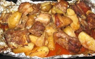 Мясо в духовке с картошкой в духовке пошаговый рецепт с фото